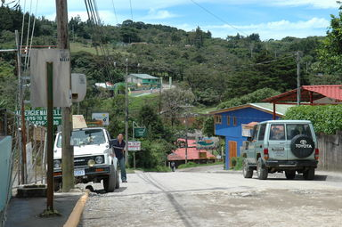Downtown Santa Elena, with one of the few paved roads in the general vicinity of Monteverde.  The next paved road is a good hour or two of ravined, rocky roads away.